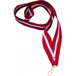 Medaillenband 11mm, 22mm / Rot, Weiß