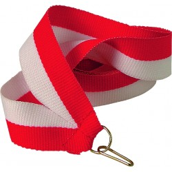 Medaillenband 11mm, 22mm / Weiß, Rot