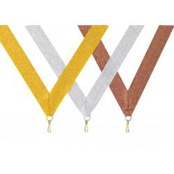Medaillenbänder 11mm, 22mm / Gold, Silber, Bronze (Glitzer)