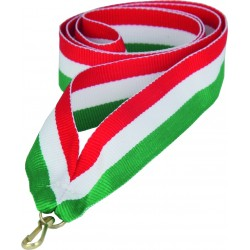 Medaillenband 11mm, 22mm / Rot, Weiß, Grün