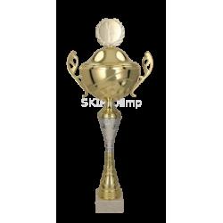 Metall-Pokal mit Deckel / Silber-Gold