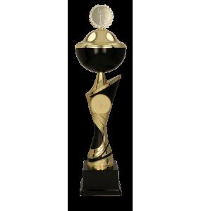 Metall-Pokal mit Deckel / Gold-Schwarz