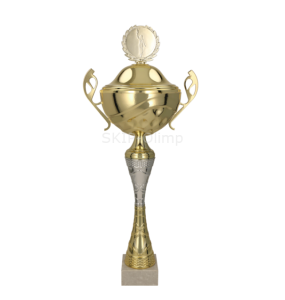 Metall-Pokal mit Deckel / Gold-Silber