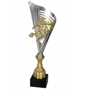 Pokal-Kunststoff , Gold, Silber / Fußball