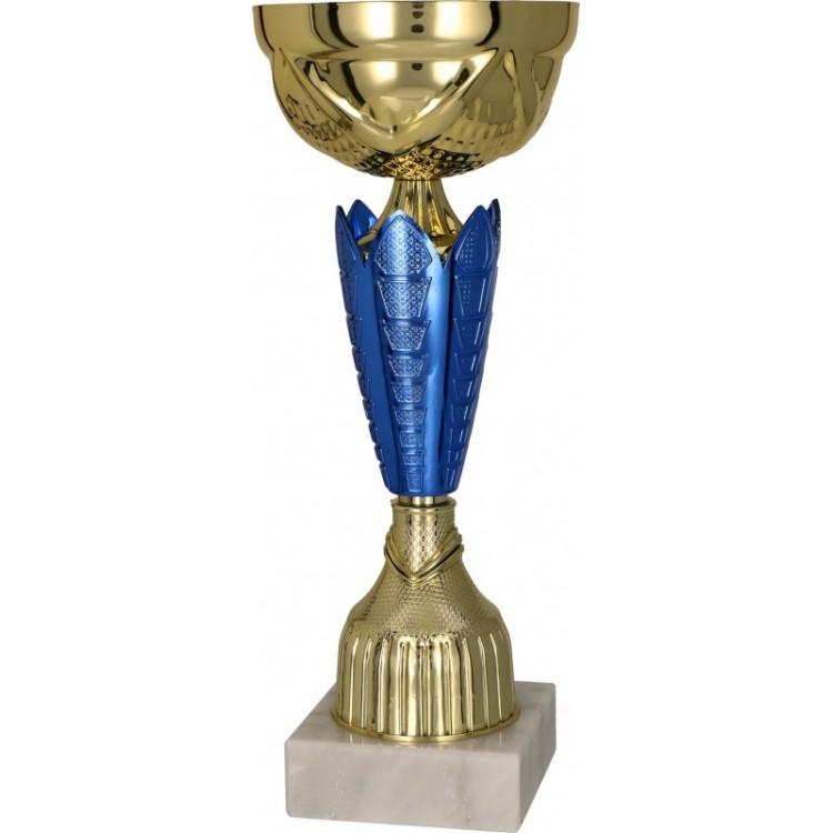 Pokal mit Deckel / Gold, Blau mit Deckel