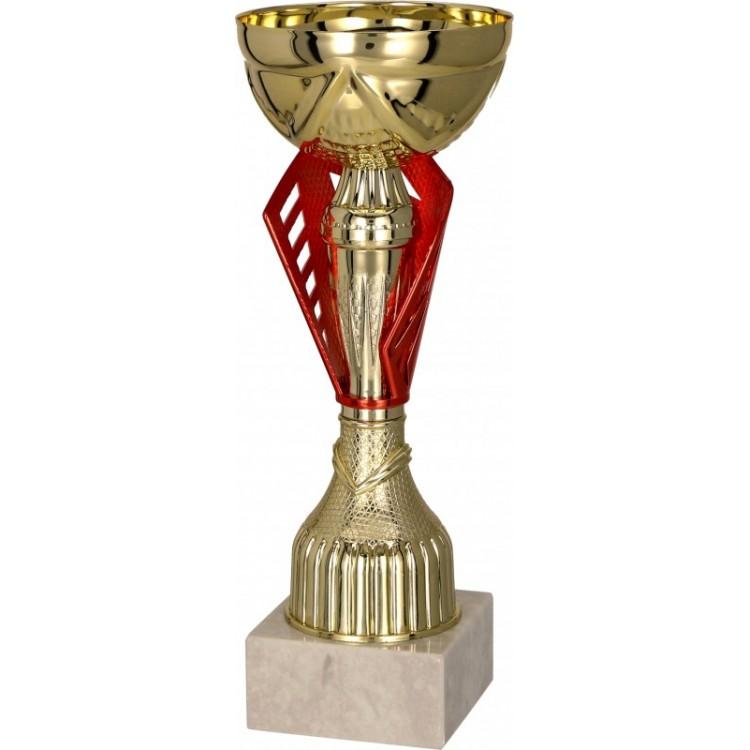 Pokal mit Deckel / Gold, Rot